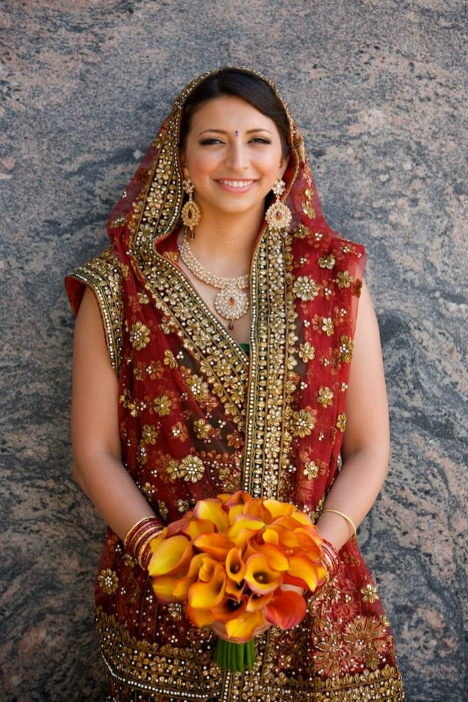 Gold and Red Decorated Bridal Saree in 2020 Beautiful