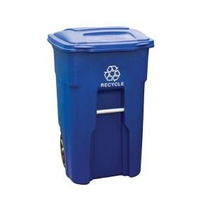 Toter 48 Gal Blue Rollout Recycling Container With Attached Lid 79248 R2705 Recycling Containers Recycling Recycling Bins