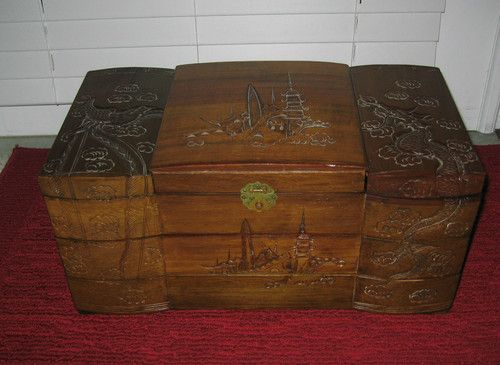 Antique Vintage Asian Chinese Japanese Wooden Jewelry Box Hand