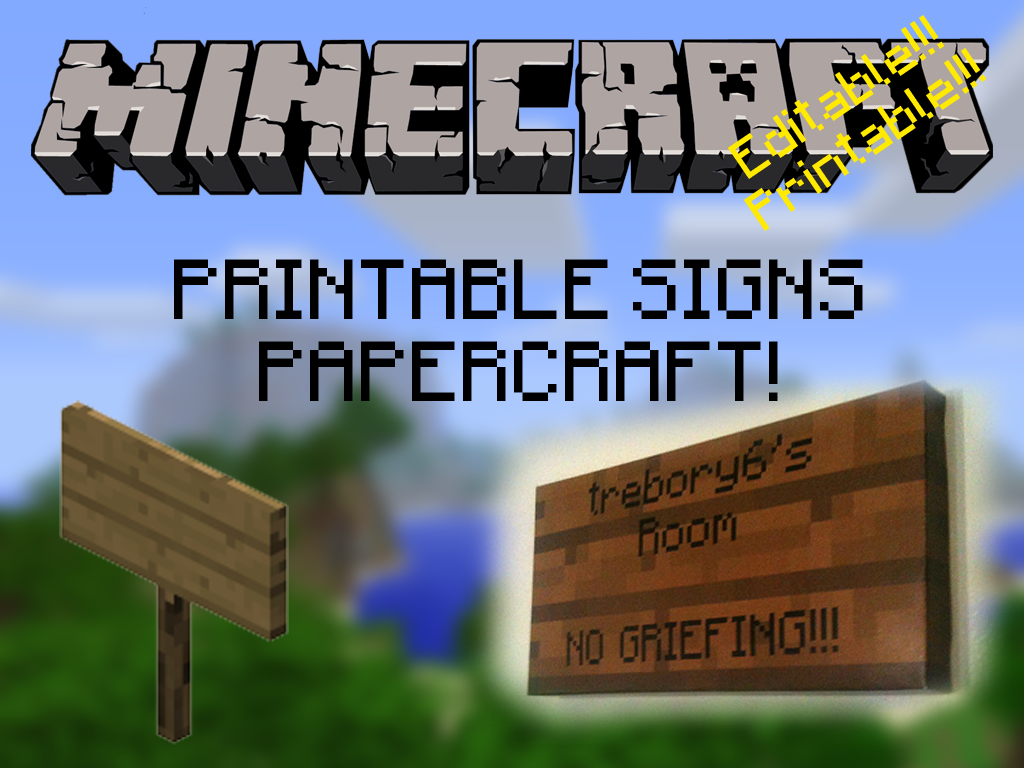 Customizable  Printable  Minecraft Signs  By