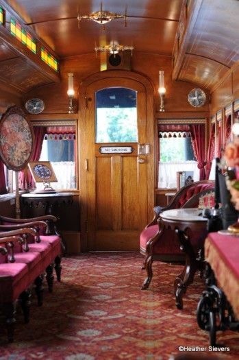 The beautiful Victorian interior of the Lilly Belle. What an honor to be able to circle Disneyland in this train car named after Walt's wife Lillian. <3