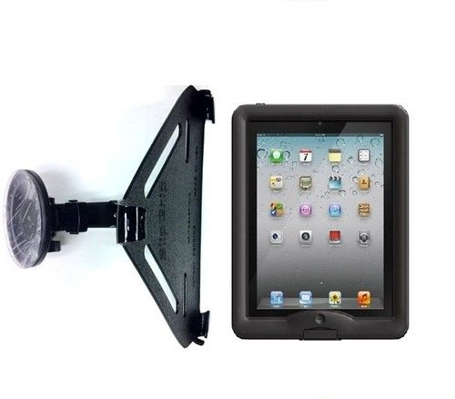 Car mount for lifeproof case which I bought. The weight of the ipad/case eventually loosens the suction cup.  Balancing the ipad on the same surface  keeps it in place.  eBay $39.95 + shipping