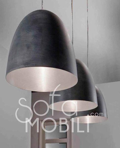 Luminaire suspension noir 3 lampes design greno for Luminaire noir suspension