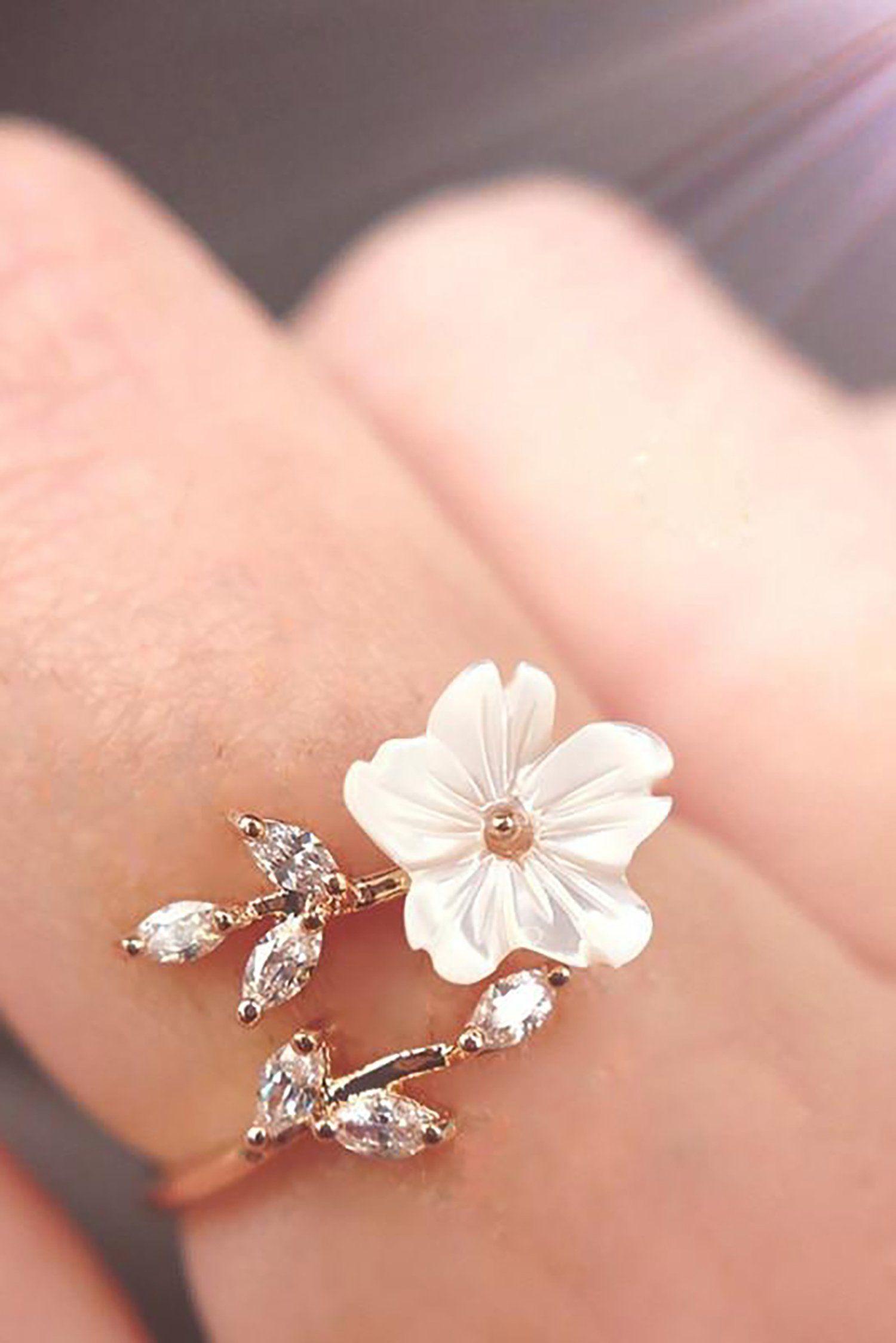 Photo of Elana Cute Beautiful White Flower Rose Gold Wrap Ring