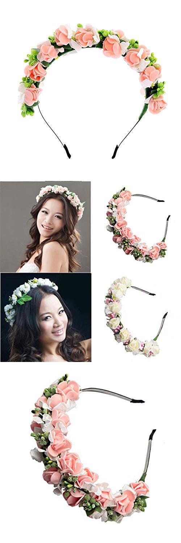 Cfrmall Love Flower Garland Crown Festival Wedding Hair Wreath Foam BOHO Floral Headband (Pink)