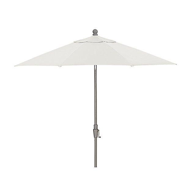 9\' Round Sunbrella ® White Sand Patio Umbrella with Tilt Silver ...