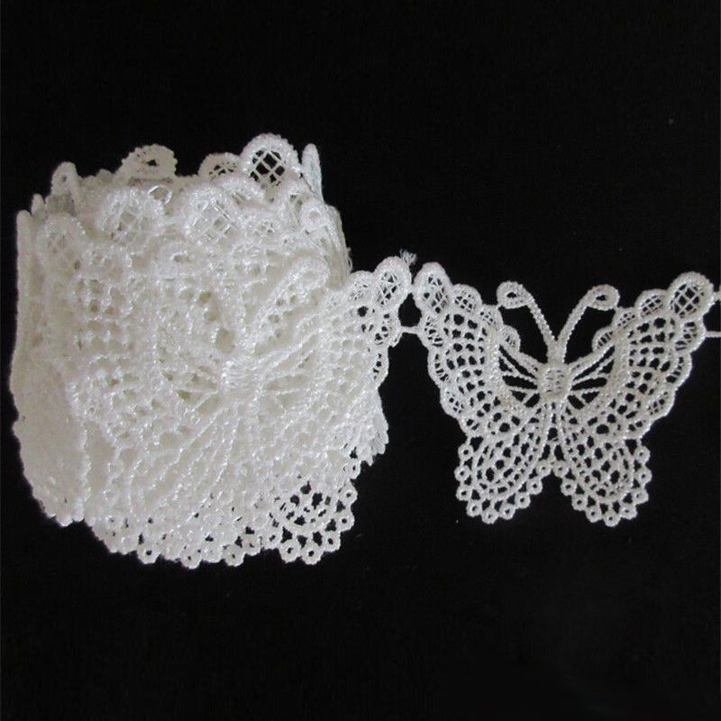 10m Vintage Embroidered Lace Edge Trim Ribbon Wedding Applique DIY Sewing Craft