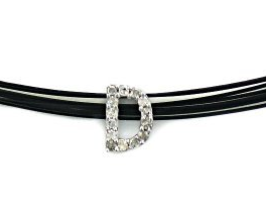 "10k White Gold Diamond ""D"" Initial Pendant, 18"" wire cord"