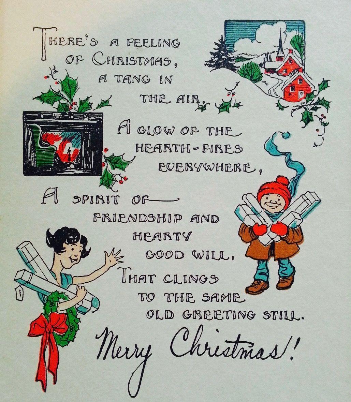 christmas feeling 1930's christmas card retro christmas