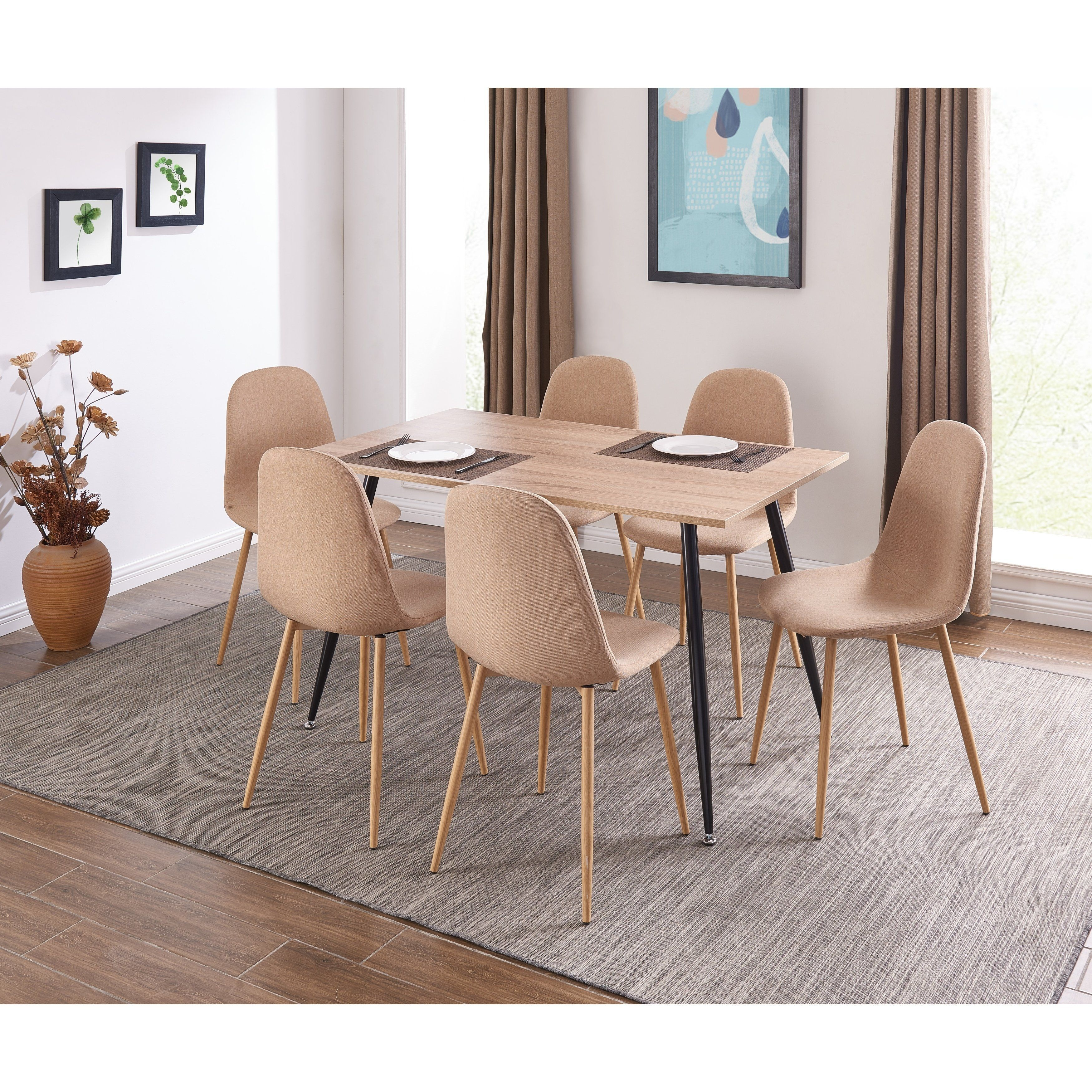 Ids Oinline Modern Style Designed Dining Table Wooden Look Mdf Top