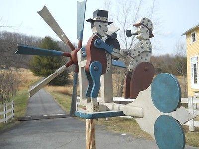 Sawyer Whirligig Man Sawing Wood Wind Spinner Handmade in USA
