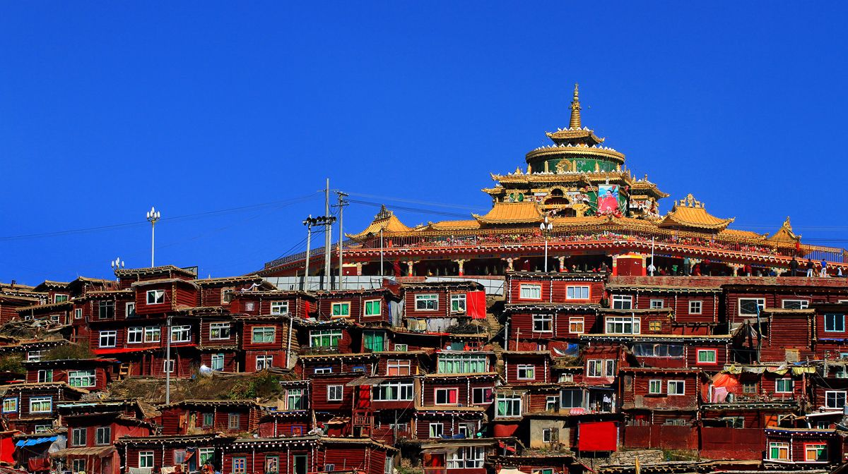 China's famous Tibetan Buddhism temples - Sertar County, Sichuan province. Tibetan Buddhism is an integral part of life here.