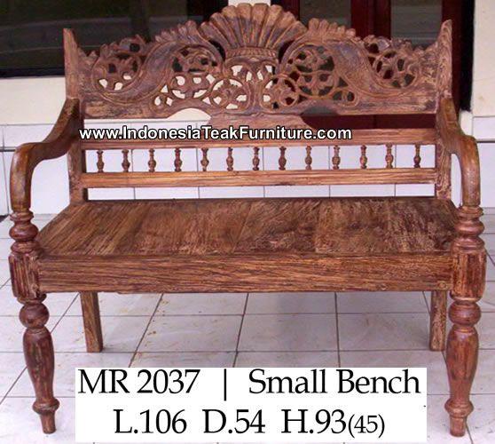 Reclaimed Teak Wood Bench Carved