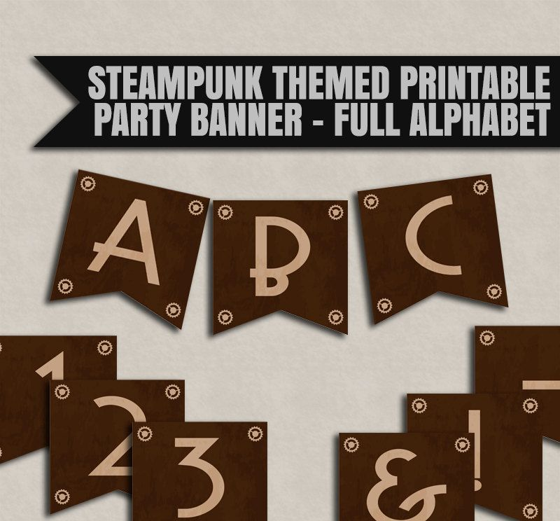 steampunk party banner printable