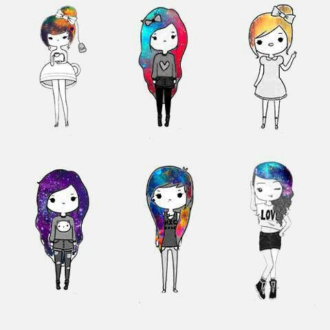 Omg Look At The Cher One With Galaxy Hair 3 Cute Pictures To Draw Cute Drawings Kawaii Drawings