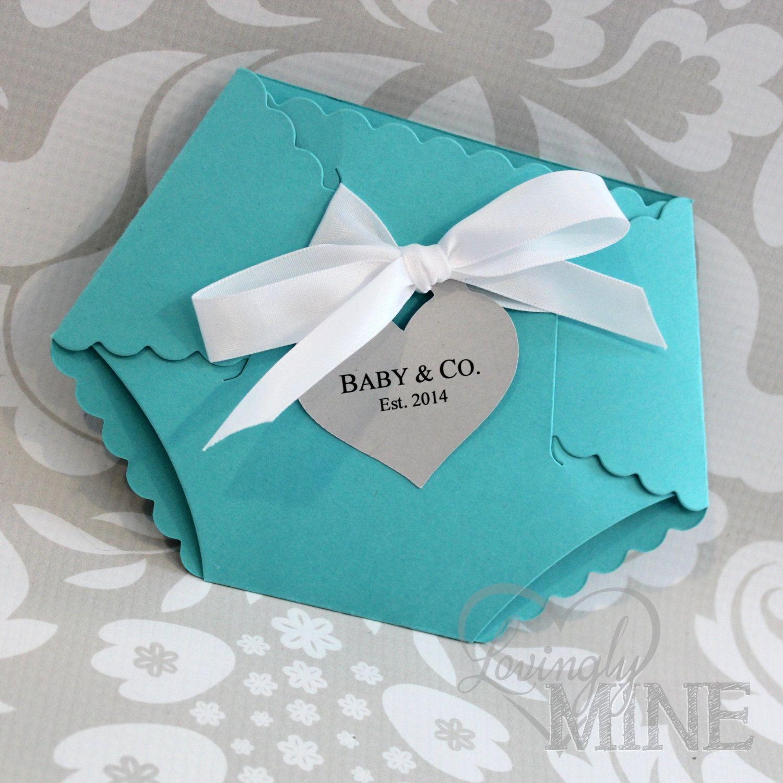 Deluxe Diaper Shape Baby Shower Invitation - Set of 10 - Light Teal ...