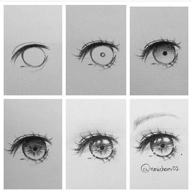 خطوات رسم عين أنمي Anime Eye Drawing Eye Drawing Tutorials Eye Drawing