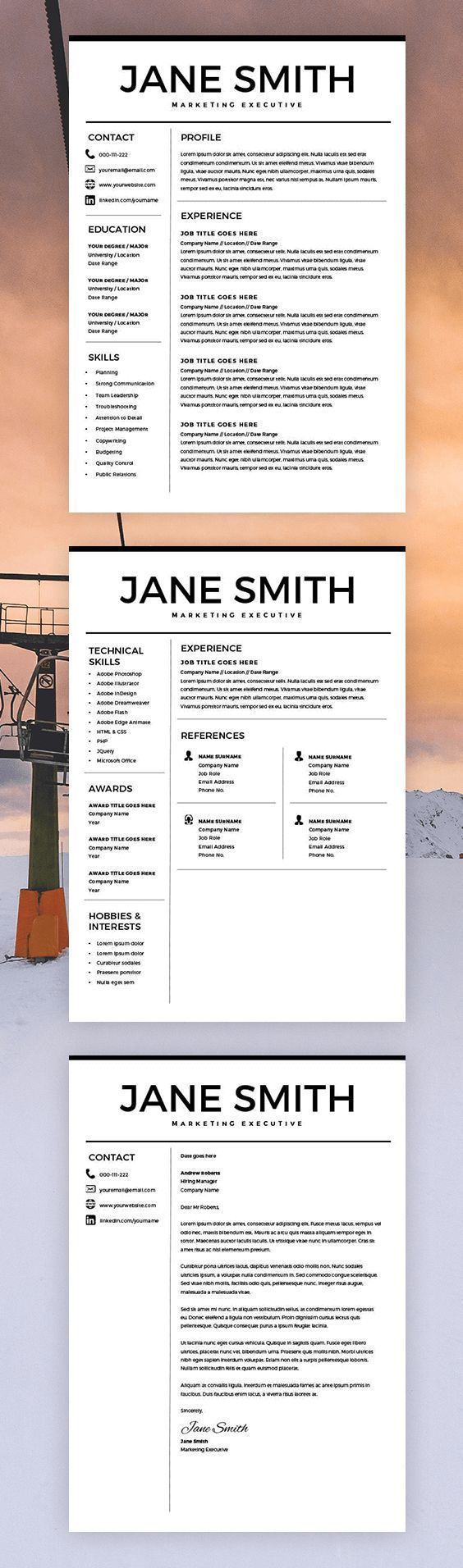 Best Resume Templates Free Resume For Microsoft Word  Minimal Resume Template  Cv Template