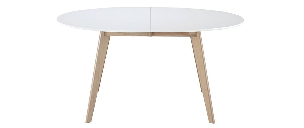 Table Extensible Ovale Blanche Et Bois Clair Leena Miliboo Id