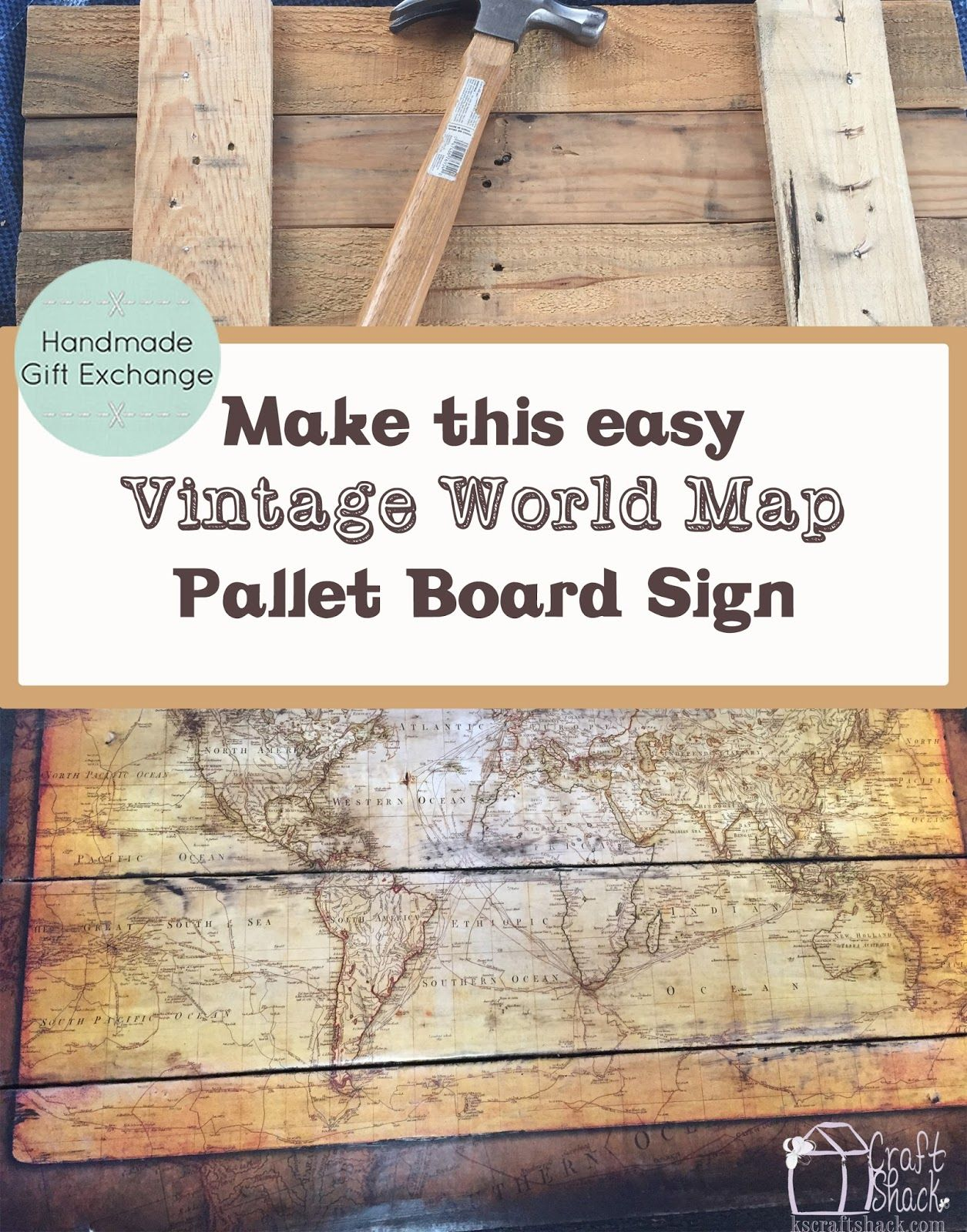 Make this easy vintage map pallet sign diy picture tutorial with diy picture tutorial with step by step instructions to show you how inexpensive and simple project i see this done with fantasy world mapsfrom games gumiabroncs Images