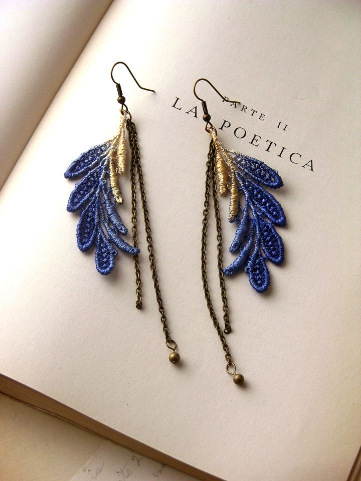 ELSA cobalt and metallic ombre lace earrings by whiteowl on Etsy... $25