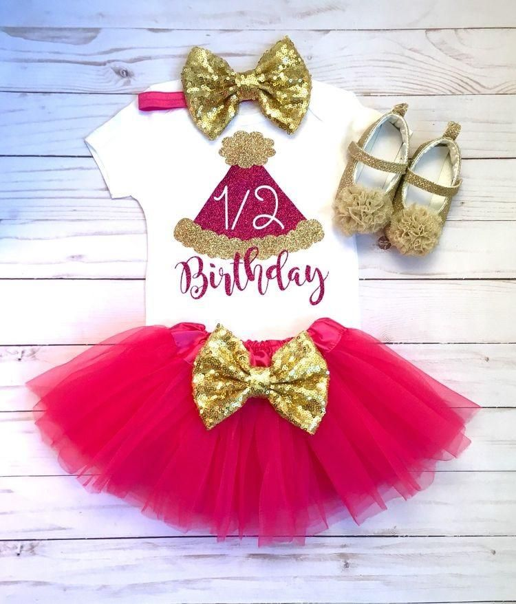 86879225d 1/2 Birthday Outfit, Baby Girls Clothing, Half Birthday Outfit, Girls Pink  and Gold Half Birthday Outfit, 1/2 Birthday Outfits