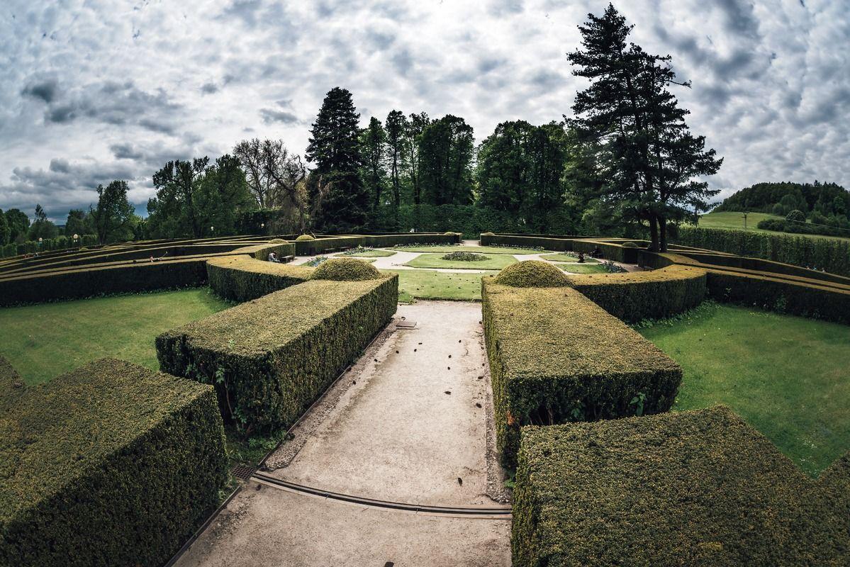 Formal garden in the park of Cesky Krumlov castle. Czech