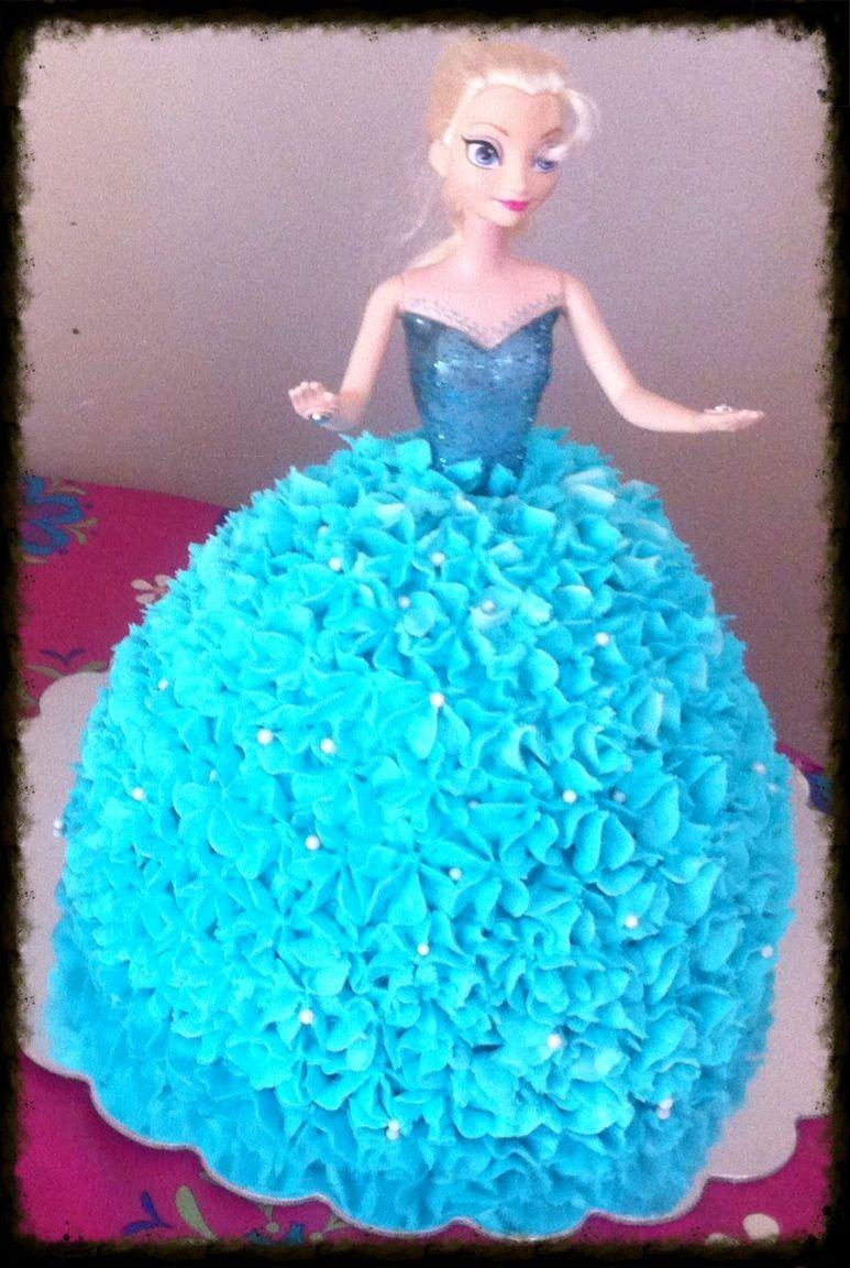 Frozen Elsa Cake Made With Wilton Barbie Cake Pan Disney