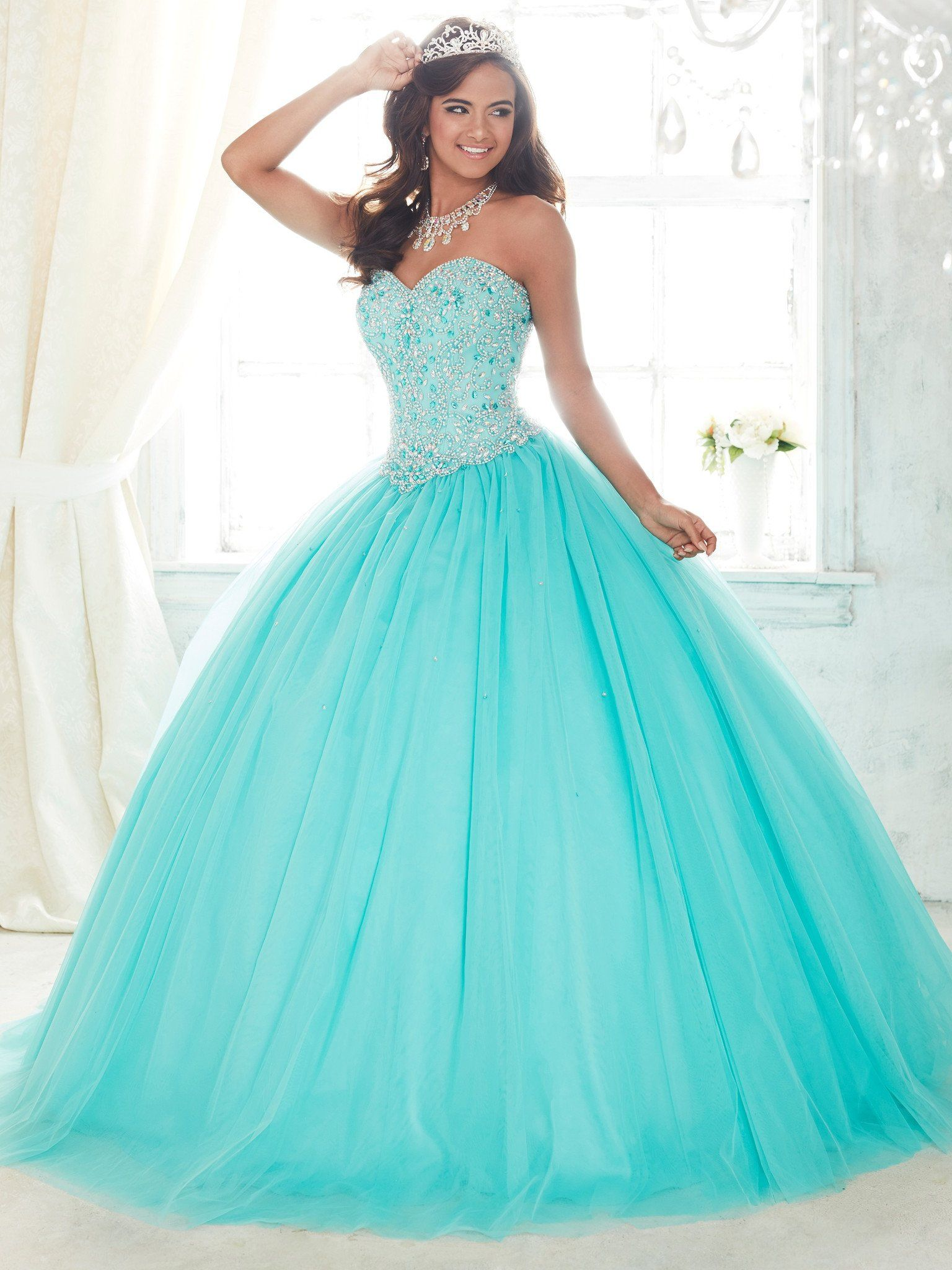 Pearl Beaded Strapless Dress by House of Wu Fiesta Gowns Style 56300