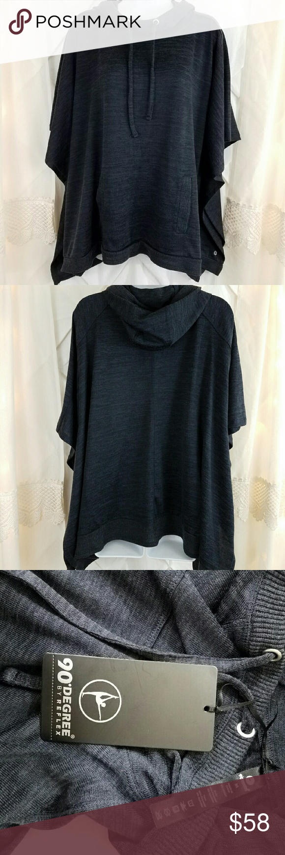 035d3b7628778 90 Degrees by reflex Poncho sweater Dark grey pullover poncho sweater with  front pocket new with tags. Great for covering up after a workout or yoga.  90 ...
