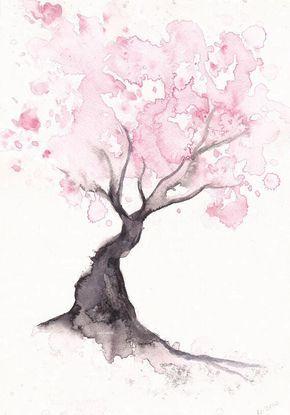 Cherry Blossom Tree Print Watercolor Painting Print Spring Tree Gift Bedroom Decor Wall Art Cherry Blossom Decor Home Wall Decor Watercolor Paintings Watercolor Wall Art Art