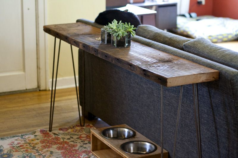 Diy Console Table Rustic Industrial Wood From Salvage Works Portland Or Doug Fir S Table Behind Couch Diy Sofa Table Reclaimed Wood Console Table