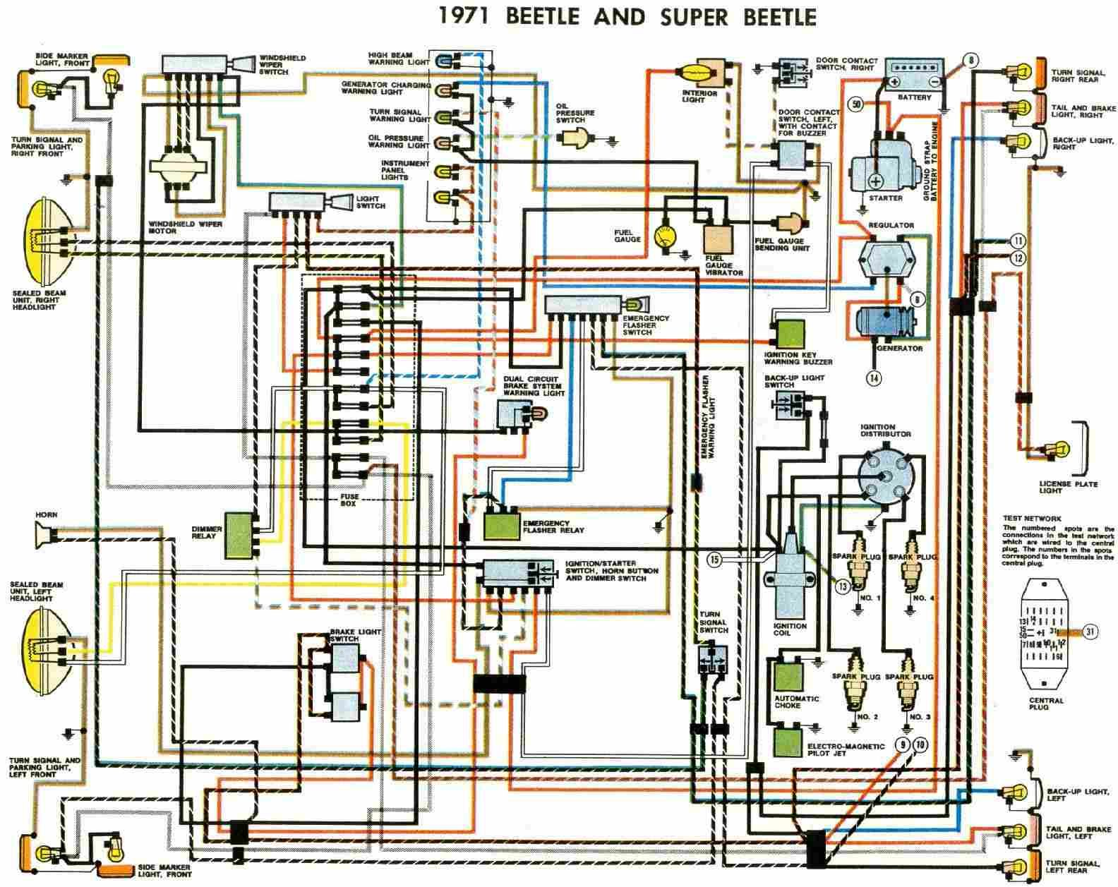 free auto wiring diagram 1971 vw beetle and super beetle wiring rh pinterest com 1971 vw beetle starter wiring diagram 1972 vw beetle wiring diagram