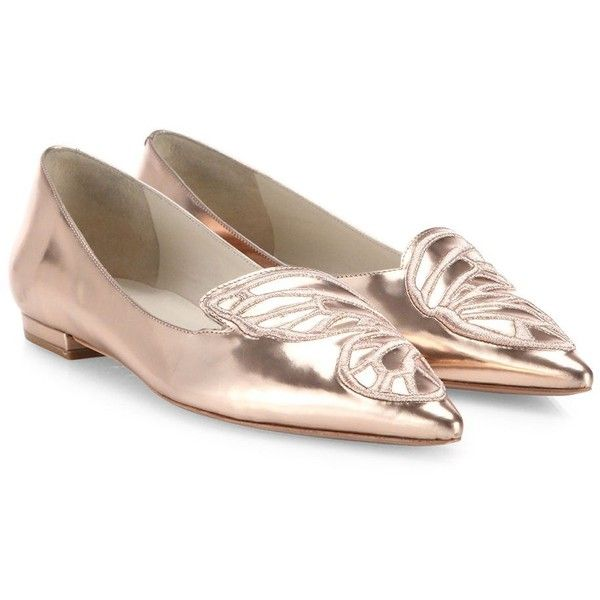 Sophia Webster Bibi Butterfly-Embroidered Metallic Leather Flats (1.057.735 COP) ❤ liked on Polyvore featuring shoes, flats, pointy toe shoes, pointed toe shoes, pointy-toe flats, leather pointed toe flats and pointy toe flats