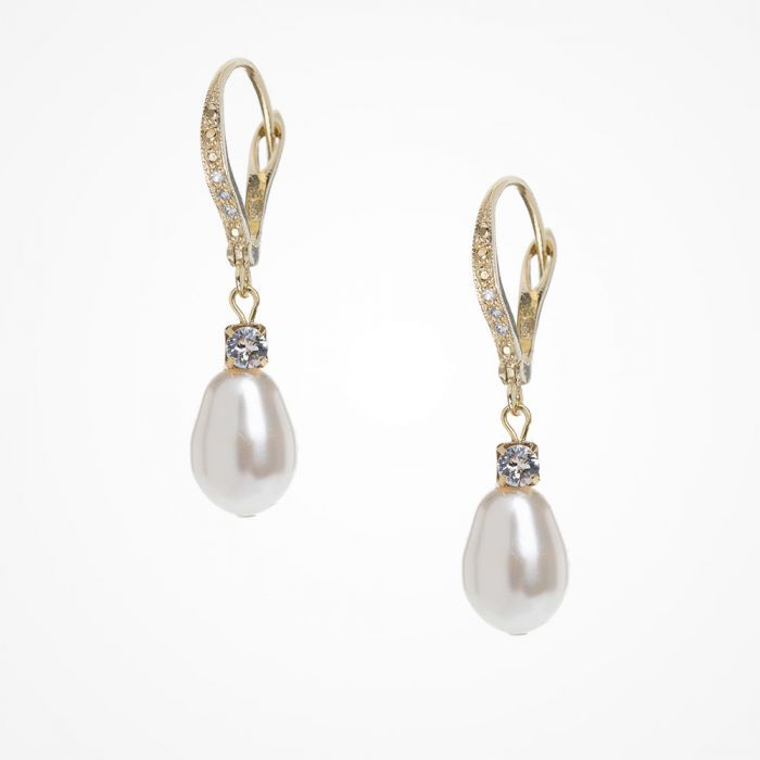 1b7cd0a18b3c8e Crystal embellished teardrop pearl lever back earrings | Katherine Swaine