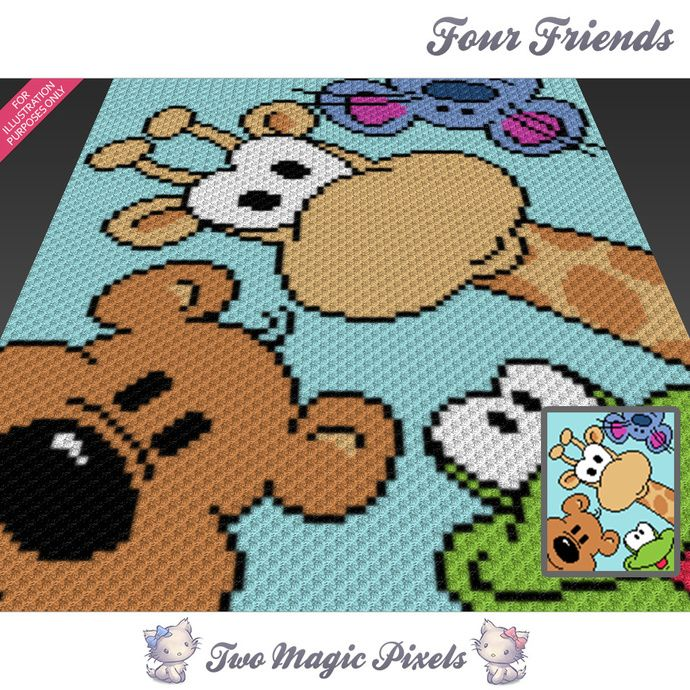 Four Friends crochet blanket pattern; c2c, cross stitch; graph; pdf ...