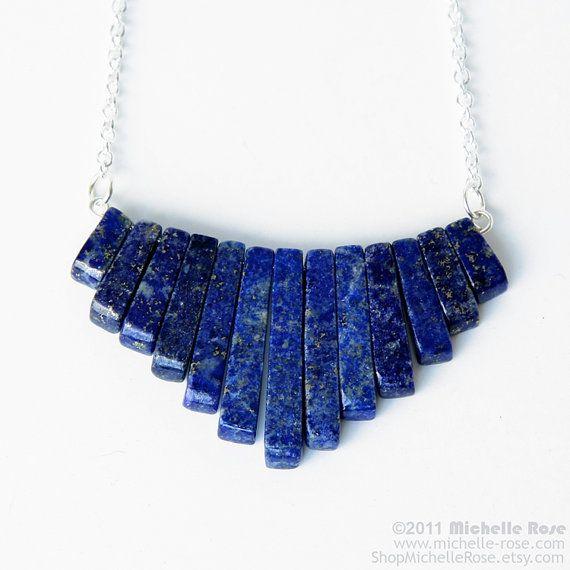 Lapis Lazuli Necklace - Gemstone Triangle Necklace - Gold Flecked Blue Stone Jewelry - Egyptian Nefertiti Nile - Xanadu Silver Chain