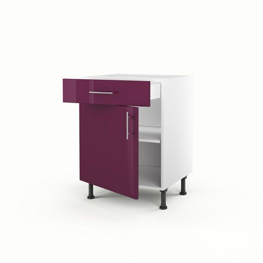 Meuble de cuisine bas violet 1 porte 1 tiroir Rio, H70xL60xP56 cm ...