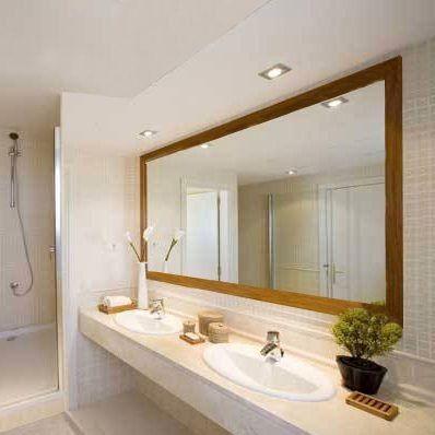 espejo en marco madera para ba o 1 00 x 0 80 m 6cm marco On espejos para banos con marco de madera