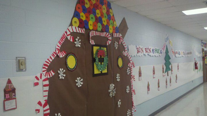 Gingerbread themed classroom door.
