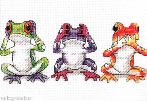 Dimensions Counted #crossstitch TREE FROG TRIO ♥ #ebay #sale #amphibians #frogs #portrait #art #gift #home #interior #walldecor #DIY #project #handcraft #handmade #needlework #stitching #craft #create