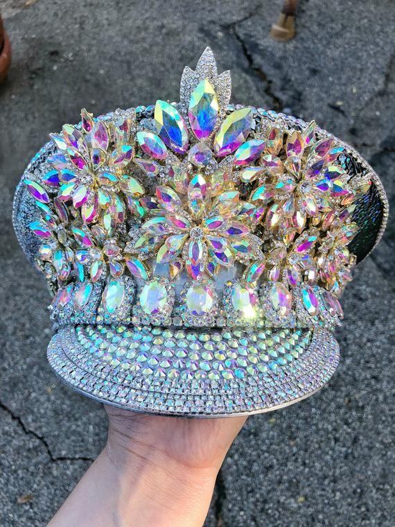 Burning man hat- Holographic, iridescent, silver,