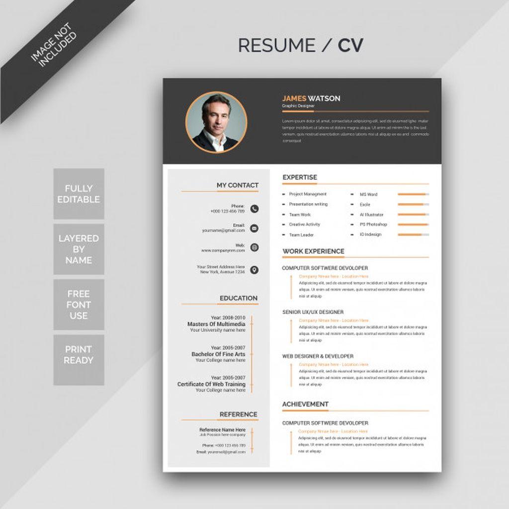 Cv Resume Paid Sponsored Sponsored Resume Cv Graphic Design Resume Psd Template Free Resume