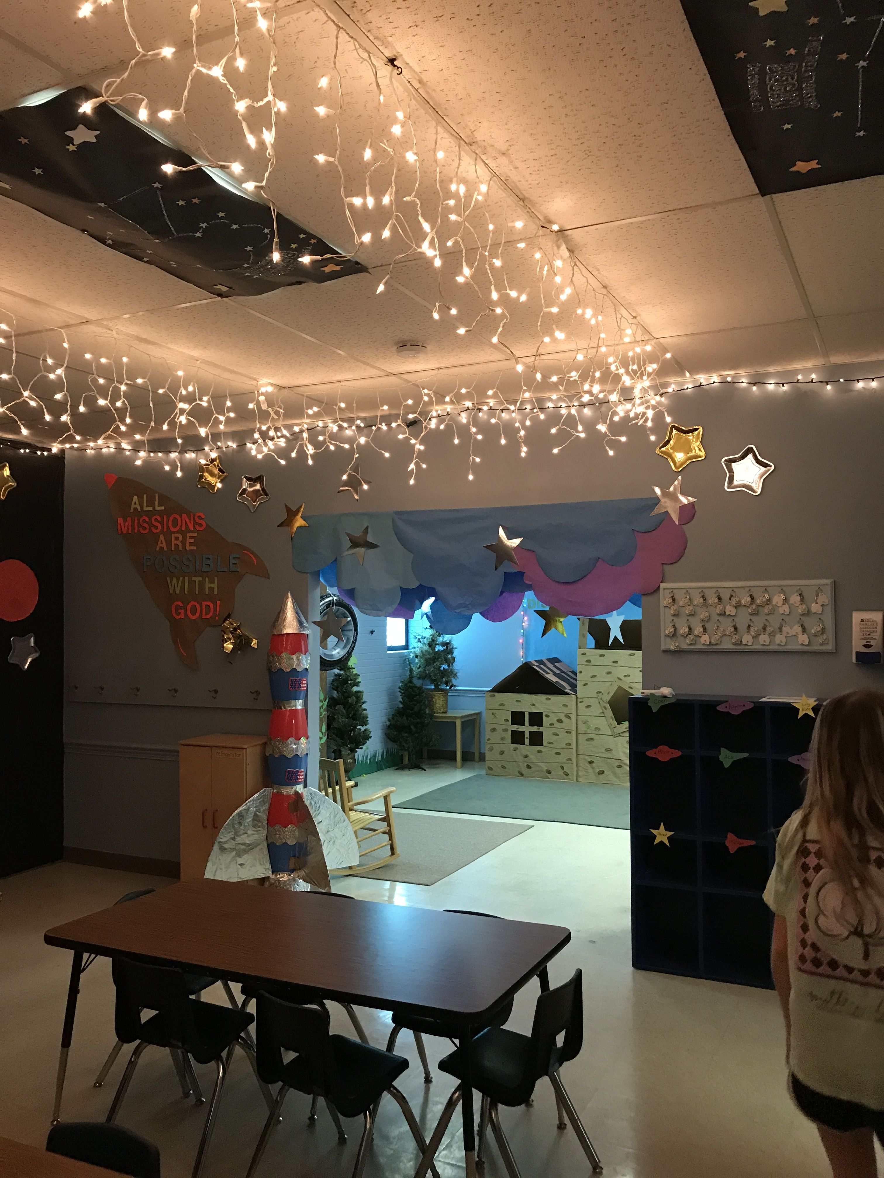 Galactic starveyors vbs 2017 vbs space classroom for Outer space decor