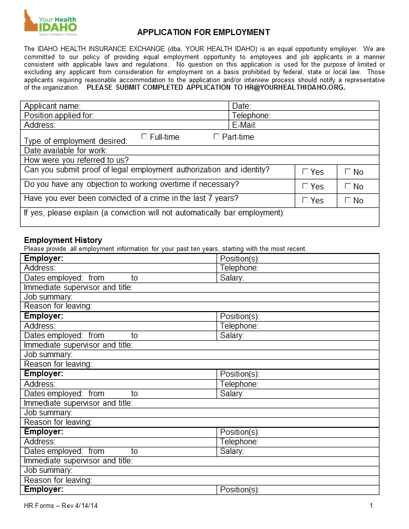 Hr Form  Application  Melissa Sue RobinsonDocm