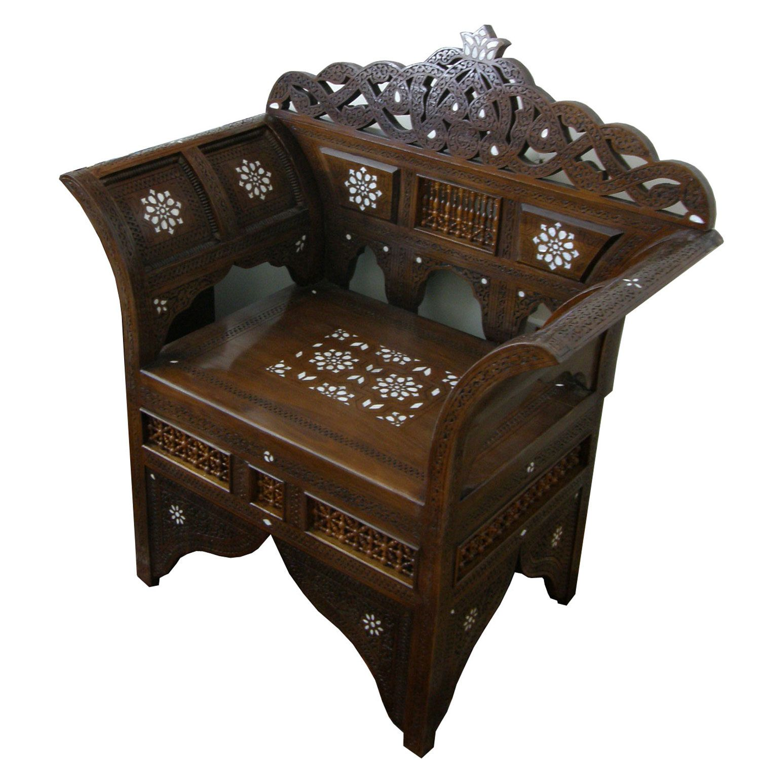 Show details for Style 1253 Syrian chair hand carved and