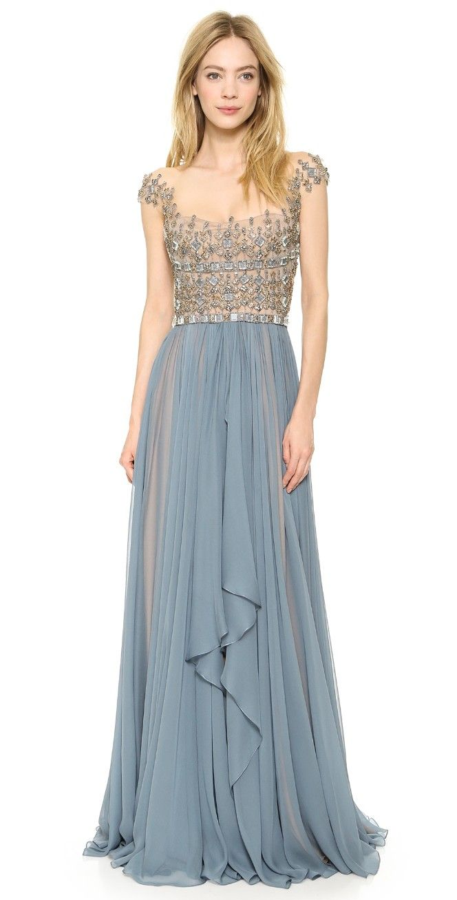 Embroidered illusion drop shoulder gown illusions gowns and shoulder