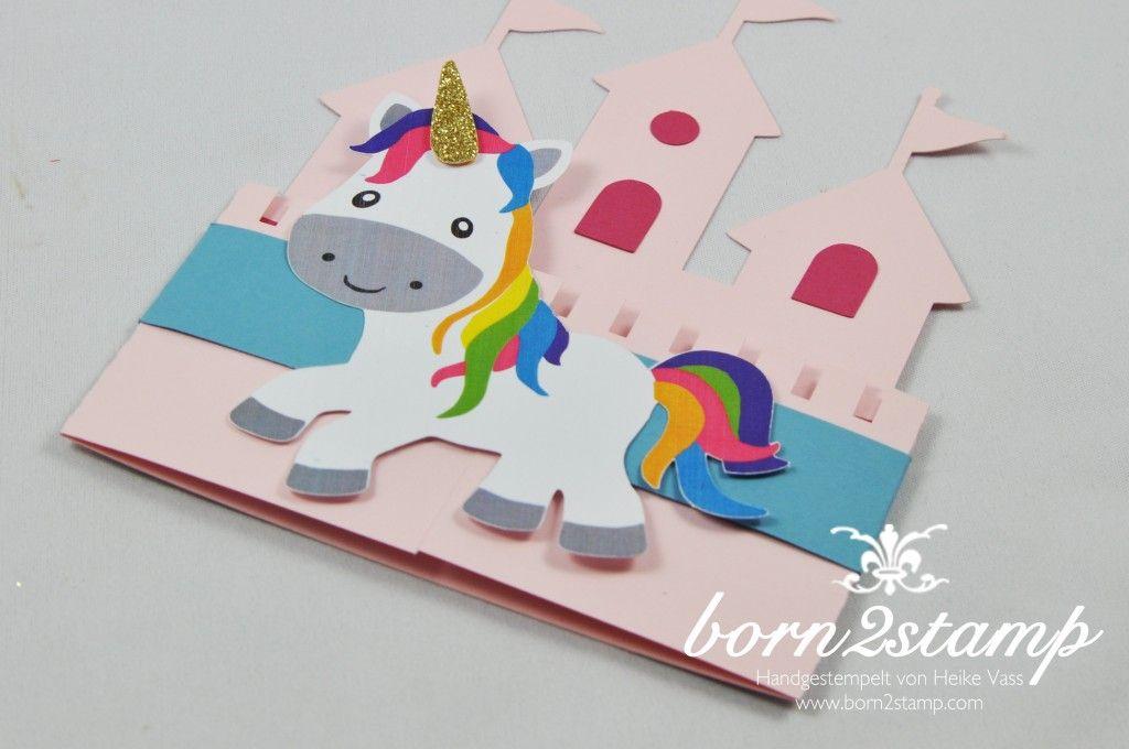 Born2stamp einhorn unicorn party einladung invitation - Einhorn selber basteln ...