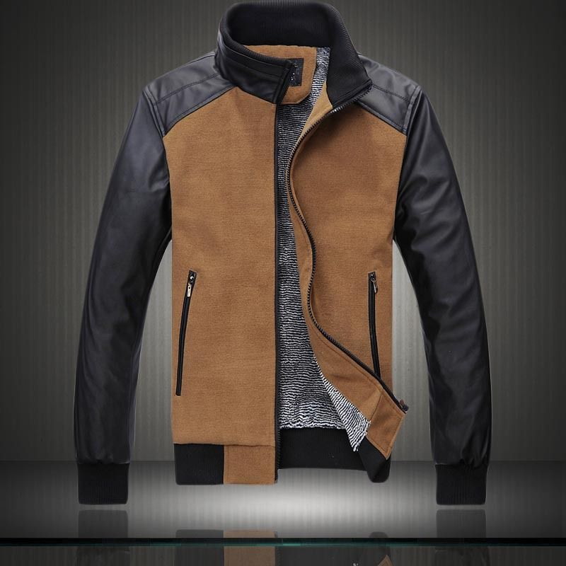 New Style Autumn and Winter Jackets For Men Splice Wool Jacket men's slim fit thickening Outerwear Men Coat Winter Overcoat F482 $49.00 - 53.00