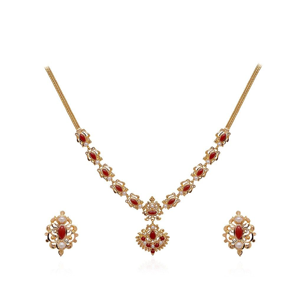 22 Kt Designer Gold Necklace with Coral Beads | delicate necklaces ...